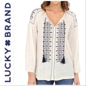 Lucky Brand Embroidered Tie Peasant Blouse XL